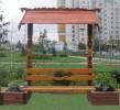 Скамья с навесом - Цветник :: Скамейки и лавки изготовленные из дерева, можно заказать по телефонам: 8 (495) 783-65-09, 8 (495) 518-64-87