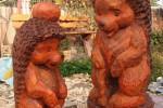 Скульптура - Ёжик с яблоком (большая) :: Заказать изготовление деревянных скульптур, Вы можете по телефонам: 8 (495) 783-65-09, 8 (495) 518-64-87