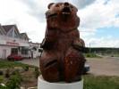 Скульптура - Мишка с шишкой (средняя) :: Заказать изготовление скульптур деревянных, Вы можете по телефонам: 8 (495) 783-65-09, 8 (495) 518-64-87