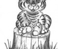 Скульптура - Тигрёнок (большая) :: Заказать изготовление скульптур из дерева, Вы можете по телефонам: 8 (495) 783-65-09, 8 (495) 518-64-87